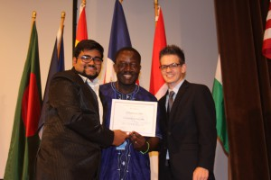 Chaitanya Jain Awarded as Outstanding Delegate at UNESCO Frederick ,USA 2015